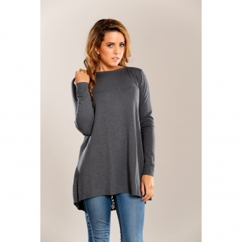 Fine Knit Top with Back Slit Feature