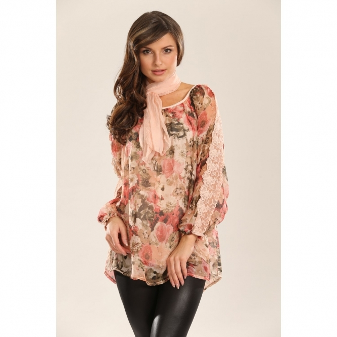 Floral Silk Top with Crochet Detail