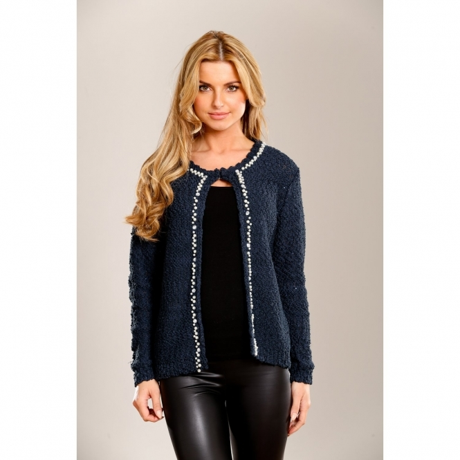 Knitted Cardigan with Pearl Embellishment