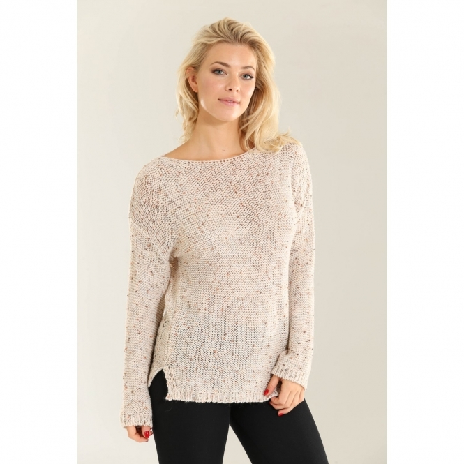 Knitted Speckled Jumper with Back Detail