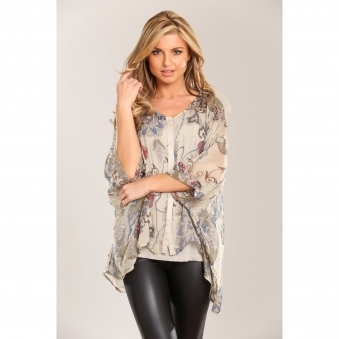 Leaf Print Silk Button Top
