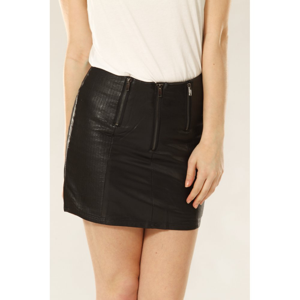 Leather Look Front Mini Skirt with Zip Detail - Skirts from Miss ...