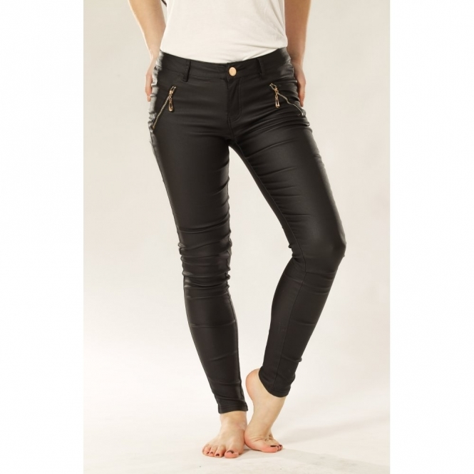 Leather Look Skinny Jeans with Zip Detail