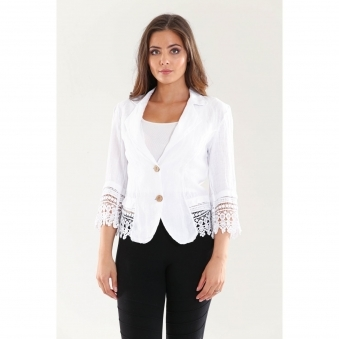 Linen Crop Blazer with Crochet Detail