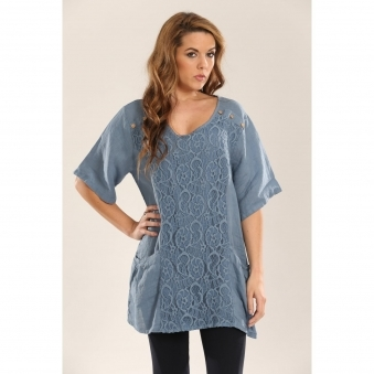Linen Top with Lace Detail