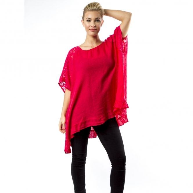 Longline Linen Top with Lace Detail