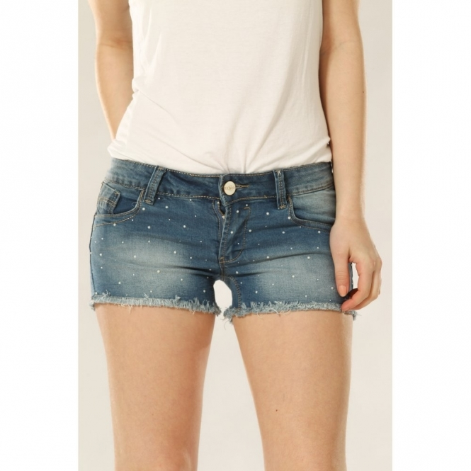 Mid Wash Denim Shorts with Pearl Studs