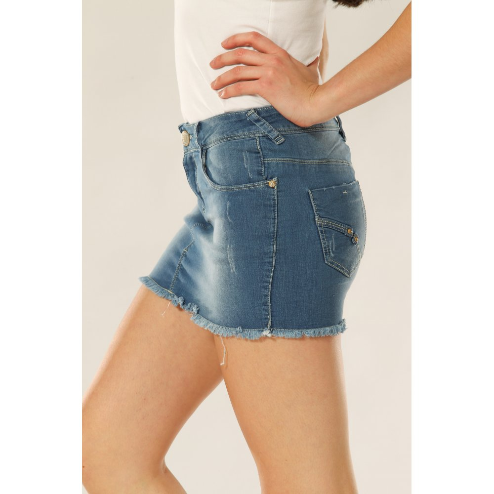 Mid Wash Frayed Denim Mini Skirt - Skirts from Miss Sugar UK