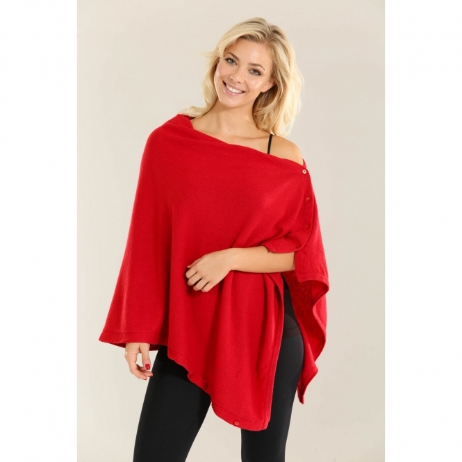 Multi-Way Buttoned Cashmere Poncho