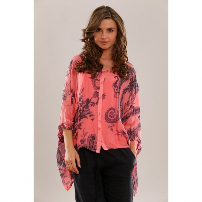 Paisley Print Silk Button Top