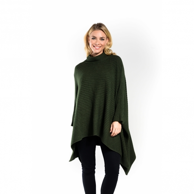 Ribbed High Neck Poncho