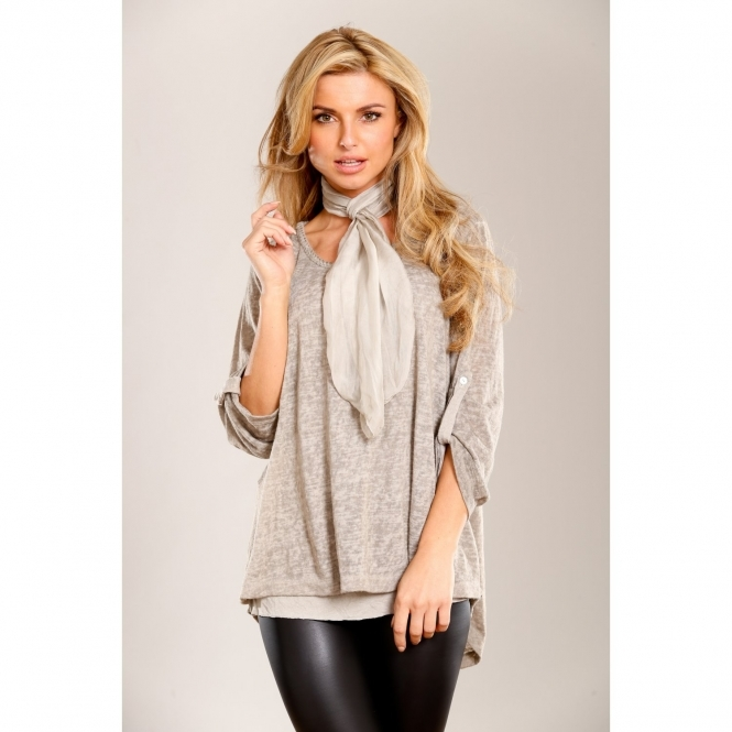 Scarf Top with Back Lace Detail