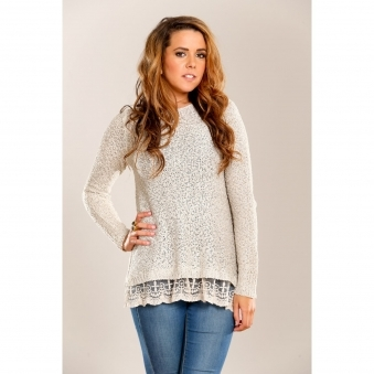 Sequined Jumper with Lace Detail