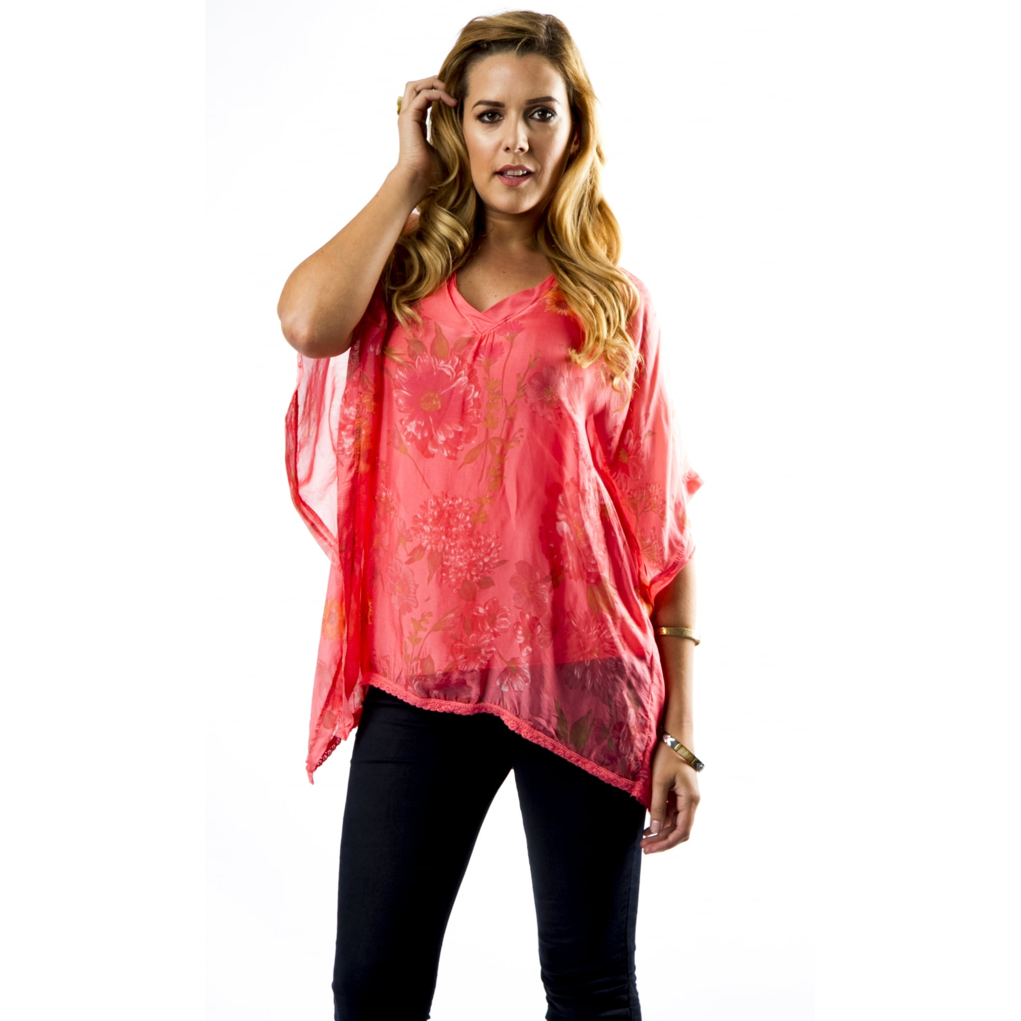 d078c6217186e V Neck Printed Silk Blouse - Tops from Miss Sugar UK